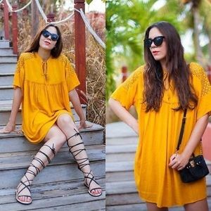 Zara mustard boho tunic dress